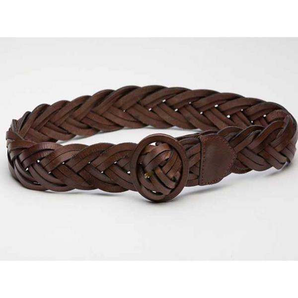 Cinnamon Spice Vintage Leather Plaited Belt