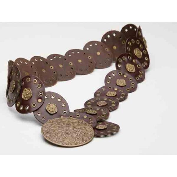 Fortune Teller Embossed Brown Leather Waist Belt