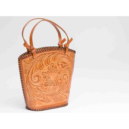 Take Me Out Vintage Tooled Leather Bucket Bag