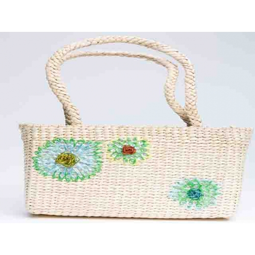 Raffia Grass Weekend Vintage Shopper Bag