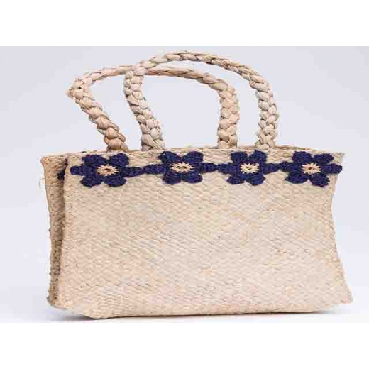 Driving Miss Daisy Vintage Woven Flax Bag