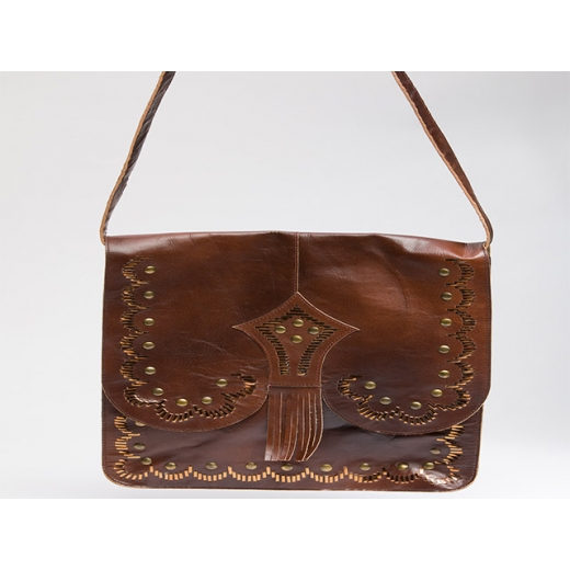 Run With The Bulls Boho Vintage Leather Shoulder B...