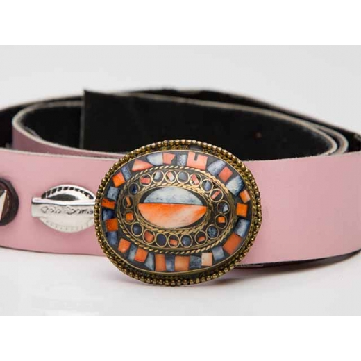 Above And Beyond Detailed Pink Vintage Leather Belt
