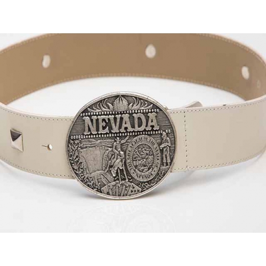 Cow Girl in the Sand White Vintage Leather Belt