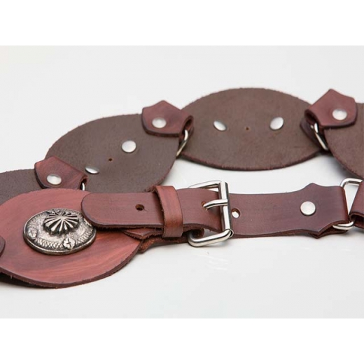 Woodstock Vintage Leather Link Belt With Medallions