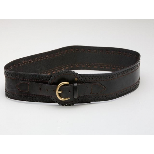 Country Western Black Leather Vintage Waist Belt