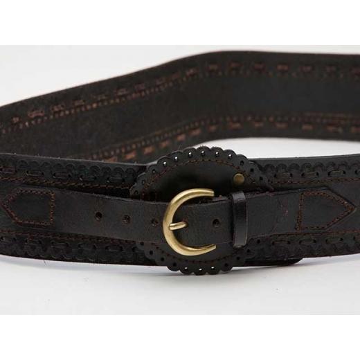 Country Western Black Leather Vintage Waist Belt