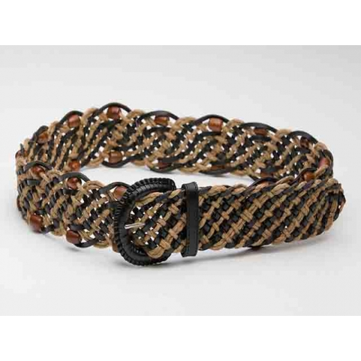A Splendour Time Vintage Beaded Rope And Leather B...
