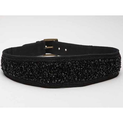 Vamp It Up Vintage Black Beaded Belt