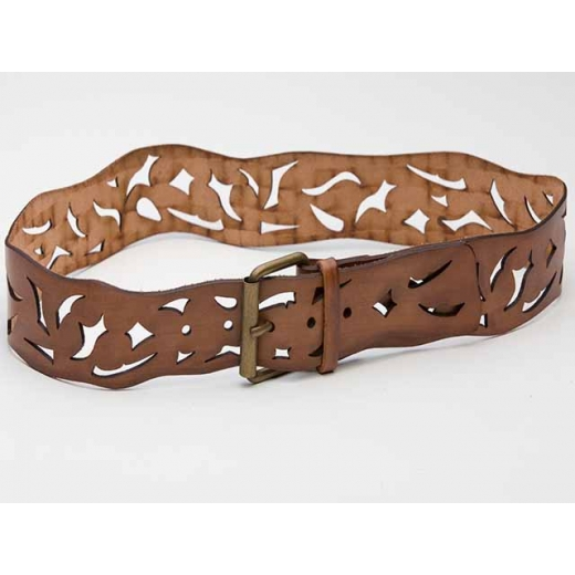 Burnout Vintage Brown Leather Belt