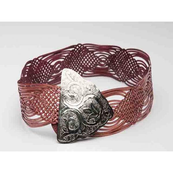 Frida Vintage Dusky Rose Leather Woven Belt
