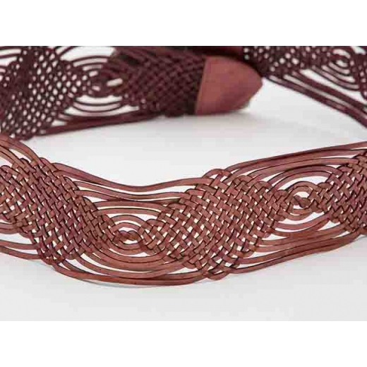 Frida Vintage Dusky Rose Leather Woven Belt