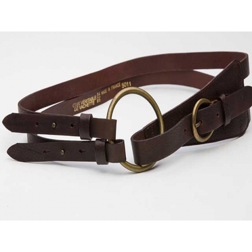 Equestrian Style Strappy Vintage Brown Leather Bel...