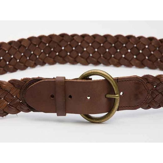 Fairgrounds Vintage Brown Leather Plaited Belt