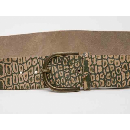 Crocodile Rock Camo Printed Vintage Leather Belt