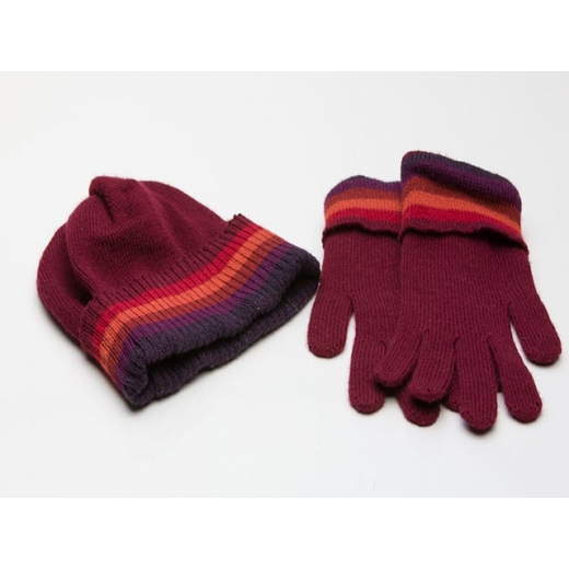 Mulberry Wine Vintage Hat And Glove Set