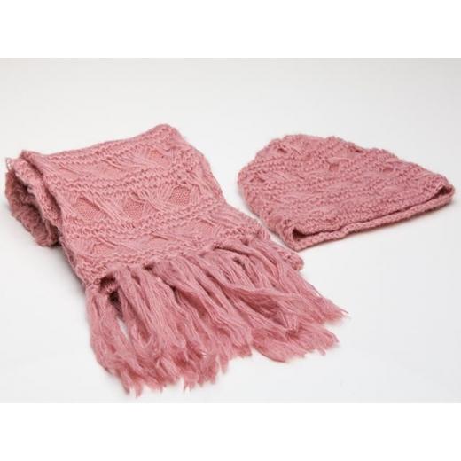 Dusky Rose Pink Vintage Hat and Scarf Set