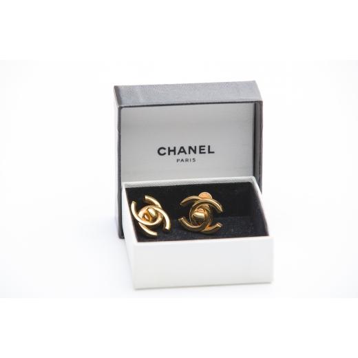 Chanel GHW Turn Lock Earrings 90s
