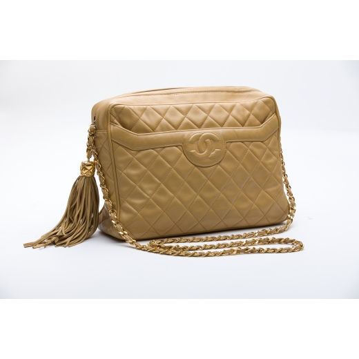 Chanel Lambskin Beige Vintage Camera Bag with Tass...