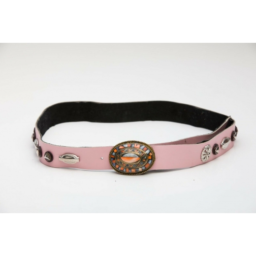Above And Beyond Detailed Pink Vintage Leather Bel...