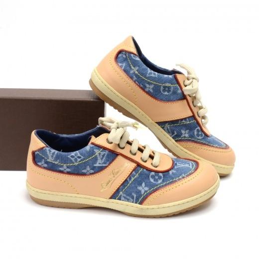 Louis Vuitton Monogram Logo Denim & Leather Kids Sneakers-Size 30