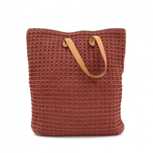 Hermes Ahmedabad Burgundy Cotton x Leather Large T...