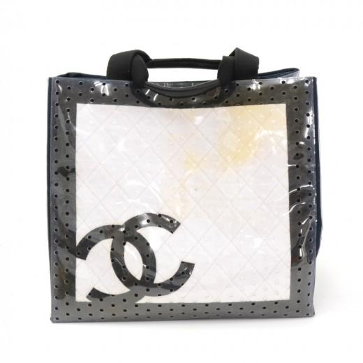 Chanel XL White x Black Cotton x Vinyl Tote Hand B...