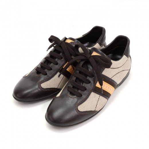 Louis Vuitton Dark Brown Leather x Canvas Sneakers...