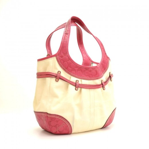 Coach White Canvas Pink Fuchsia Leather Large Tote Bag