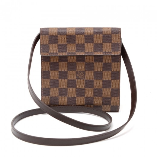 Louis Vuitton Ebene Damier Canvas CD Case + Strap