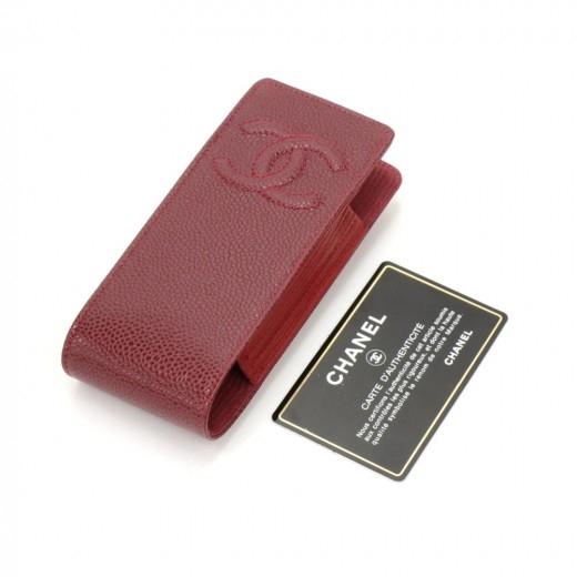 Chanel Burgundy Caviar Leather Phone/Cigarette Cas...
