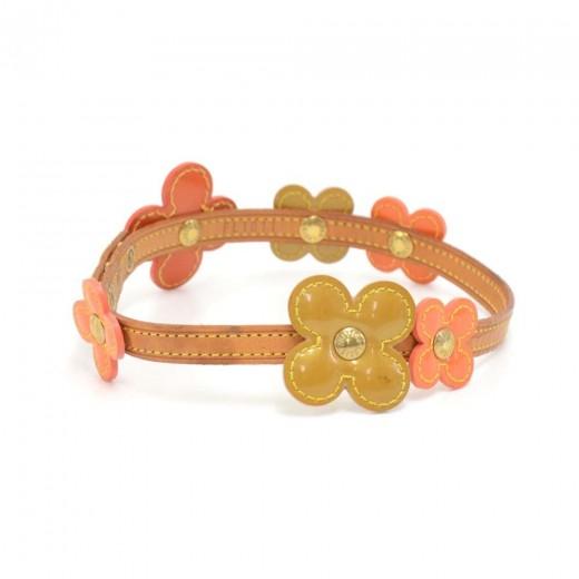 Louis Vuitton 2 Way Floral Motif Orange & Gold Vernis Leather Choker Necklace/Bracelet