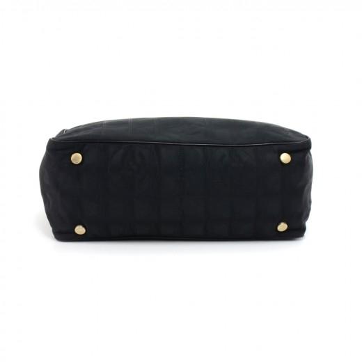Chanel Travel Line Black Jacquard Nylon Tote Bag