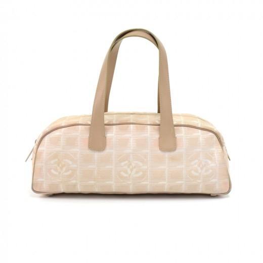Chanel Travel Line Beige Jacquard Nylon Mini Bosto...