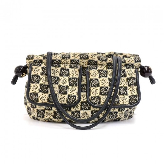 Chanel Beige & Black Canvas Camellia Check Pattern...
