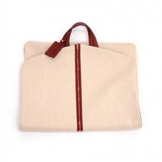 Hermes Beige Coated Canvas & Red Leather Garment T...