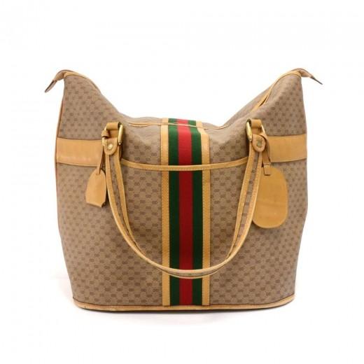 Vintage Gucci Micro GG Supreme Coated Canvas x Lea...