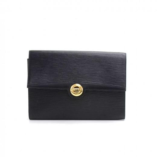 Vintage Louis Vuitton Arche Black Epi Leather Clut...