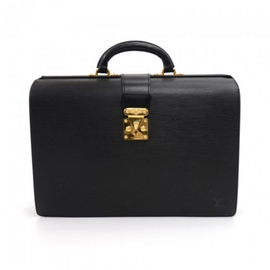 Vintage Louis Vuitton Serviette Fermoir Black Epi Leather Briefcase