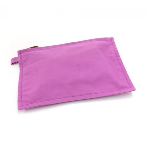 Hermes Pink Bora Bora Cotton Canvas Flat Zip Pouch...