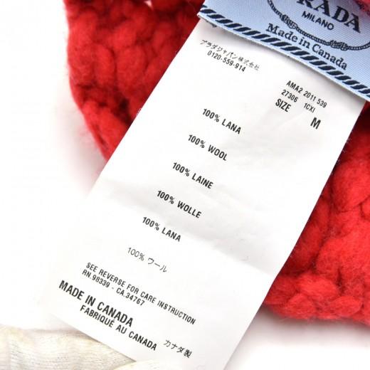 Prada Unisex Red Wool Pom-pom Knit Hat-Size M