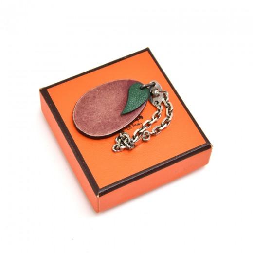 Vintage Hermes Plum Purple Leather Bag charm / Key...