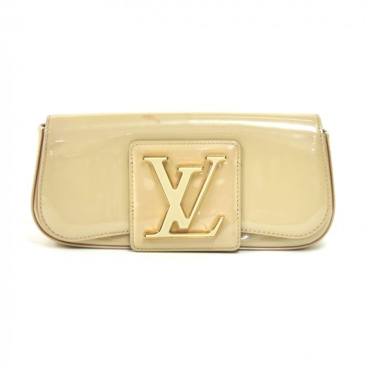 Louis Vuitton Sobe Grive Ivory Vernis Leather Clut...