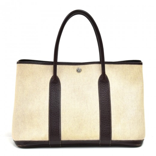 Hermes Garden Party PM Chocolate Brown Leather Bei...