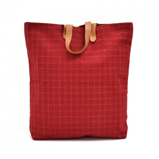 Hermes Ahmedabad Red Cotton Canvas & Brown Leather...