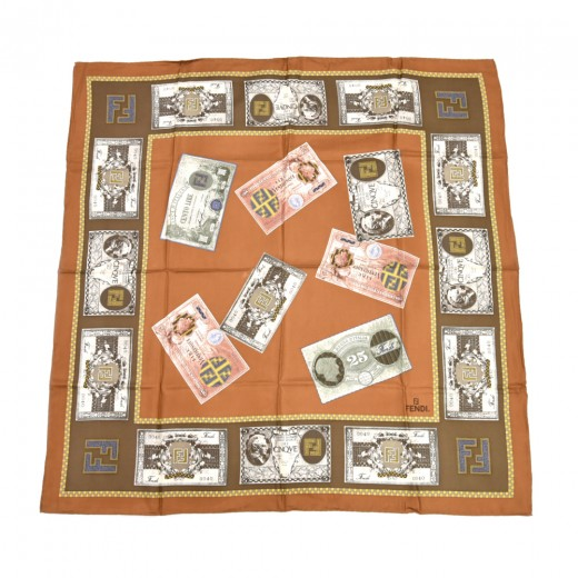 Vintage Fendi Brown Fendi Money Currency Print Sil...