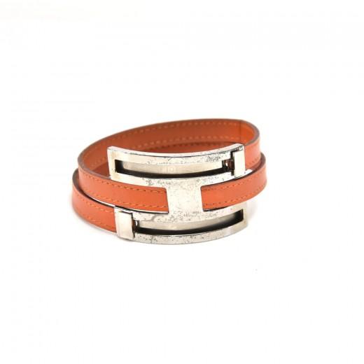 Hermes Chamonix Pousse Pousse Orange Leather & Sil...