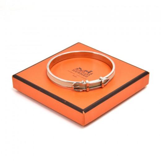 Hermes White Leather & Silver-tone hardware Belt B...