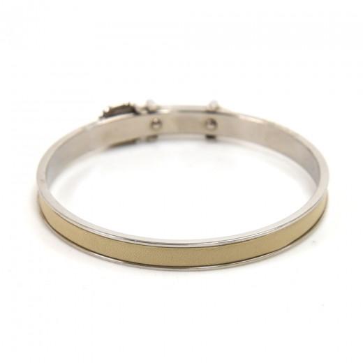 Hermes White Leather & Silver-tone hardware Belt Buckle Design Bangle Bracelet