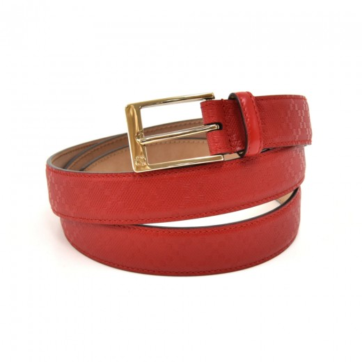Gucci Red Diamante Leather & Gold-tone Buckle Belt...